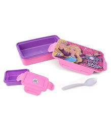 Barbie Lunch Box With Clip Lock & 2 In 1 Fork Spoon - Purple Pink