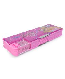 Barbie Printed Dual Compartment Magnetic Pencil Box - Pink