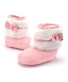 Wow Kiddos Bow Knot Fleece Booties - Light Pink