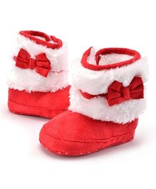 Wow Kiddos Bow Knot Fleece Booties - Red