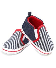 Wow Kiddos Striped Slip On Booties - Blue