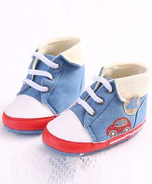 Wow Kiddos Casual Tie Up Style Booties - Light Blue