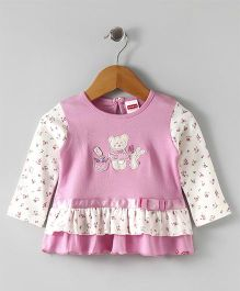 Babyhug Full Sleeves Frock With Bottom Layer Bear Design - Pink White