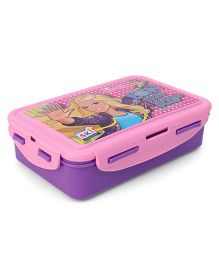 Barbie Lunch Box With Clip Lock & Fork - Purple Pink