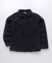 UFO Full Sleeves Winter Jacket Checks Design - Black