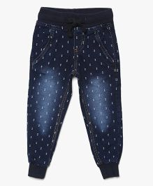 Bella Moda Dot Print Solid Denim - Blue