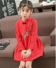 Pre Order - Awabox Pretty Embroidered Dress - Red