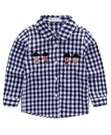 Pre Order - Awabox Man Patch Checked Shirt - Blue