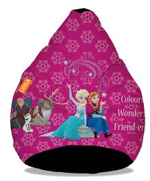 Orka Frozen Anna & Elsa Digital Printed Bean Bag Filled With Beans Pink - XL