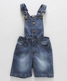 Babyhug Denim Dungaree With Side Pockets - Light Blue