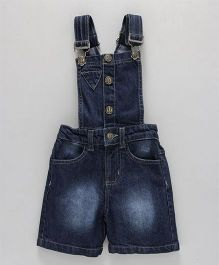 Babyhug Denim Dungaree With Side Pockets - Dark Blue