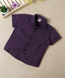 Babyhug Half Sleeves Shirt Tartan Checks - Navy Red