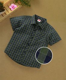 Babyhug Half Sleeves Shirt Tartan Checks - Green Navy