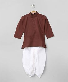 Babyhug Full Sleeves Kurta & Dhoti Set - Brown White