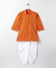 Babyhug Full Sleeves Kurta & Dhoti Set - Orange