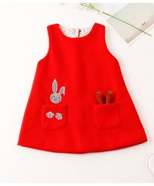 Pre Order - Awabox Bunny And Carrot Print Dress - Red