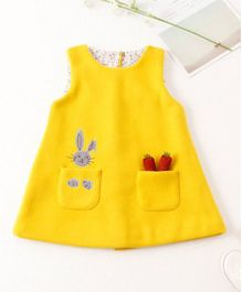 Pre Order - Awabox Bunny And Carrot Print Dress - Yellow