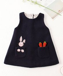 Pre Order - Awabox Bunny And Carrot Print Dress - Black