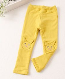 Pre Order - Awabox Meow Print Comfortable Pants - Yellow