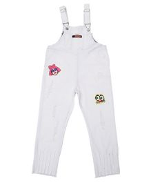 Pre Order - Superfie Keep Calm Dungaree - White