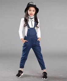 Pre Order - Superfie Big Size Denim Dungaree - Blue
