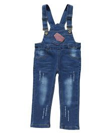 Pre Order - Superfie Stylish Print Dungaree - Blue