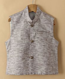 Babyhug Sleeveless Ethnic Jacket - Light Brown