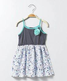 Babyhug Singlet Printed Frock With Floral Corsage - White Blue
