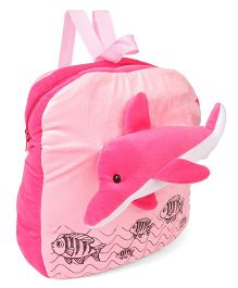 Funzoo Plush School Bag Dolphin Design Pink - 13.7 inches