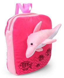 Funzoo Plush School Bag Dolphin Design Dark Pink - 13.7 inches