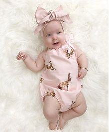 Pre Order - Awabox Rabbit Print Onesie With Headband - Peach