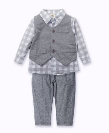 Pre Order - Awabox Checked Shirt & Pants With Suspenders - Grey