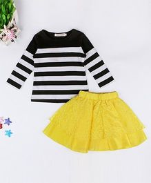 Pre Order - Awabox Striped Top With Lace Skirt - Black & Yellow