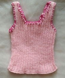 The Original Knit Embroidered Handmade Vest - Baby Pink