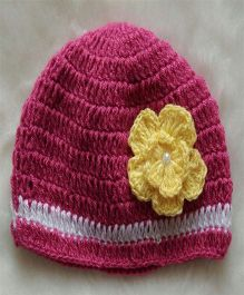 The Original Knit Big Flower Cap - Magenta
