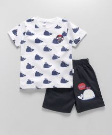 Teddy Half Sleeves T-Shirt And Shorts Set Whale Print - White & Blue