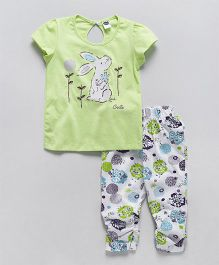 Teddy Short Sleeves Top And Capri Bunny Print - Light Green White