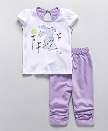 Teddy Short Sleeves Top And Capri Bunny Print - White Purple