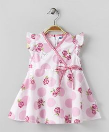 Teddy Short Sleeves Polka Dot Frock Floral Print - White Pink