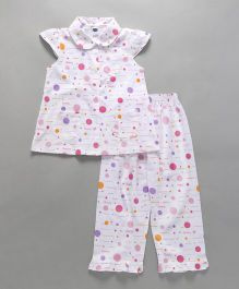 Teddy Cap Sleeves Polka Dot Night Suit - White Pink