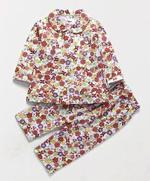 Teddy Full Sleeves Night Suit Floral Print - White Red