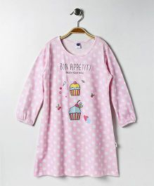 Teddy Full Sleeves Polka Dot Nighty Cup Cake Print - Pink