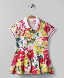 Teddy Cap Sleeves Frock Floral Print - Multi Colour
