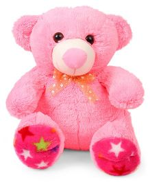 Liviya Teddy Bear Star Print Paw Soft Toy Pink - Height 33 cm
