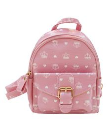 Abracadabra Faux Leather Bag Crown Print Pink - 9 Inches