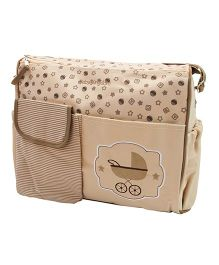 Abracadabra Diaper Bag With Adjustable Shoulder Straps Printed - Light Brown