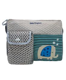 Abracadabra Diaper Bag With Adjustable Shoulder Straps Elephant Design - Grey & Green