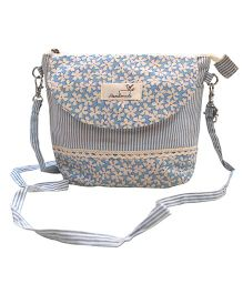 Abracadabra Sling Bag With Adjustable Shoulder Strap Floral Print - Blue