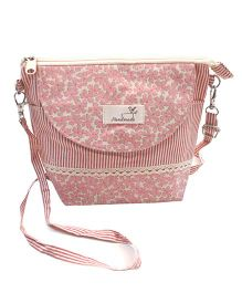 Abracadabra Sling Bag With Adjustable Shoulder Strap Floral Print - Pink