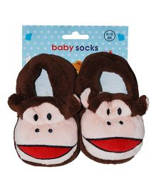 Abracadabra Monkey Shaped Baby Socks - Brown